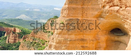 Las Medulas, ancient roman mines in Leon, Spain. - stock photo