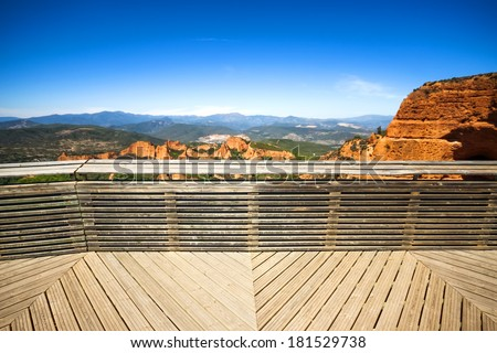 Las Medulas viewpoint. Ancient Roman mines, UNESCO, Leon, Spain - stock photo
