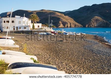 Las Negras scenics, in the heart of Cabo de Gata natural park, Almeria, Spain - stock photo