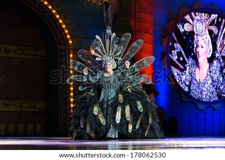 LAS PALMAS - FEBRUARY 21: Lucia Gonzalez Gopar from Canary Islands, performing onstage during Gala of the Great Lady contest February 21, 2014 in Las Palmas, Spain.