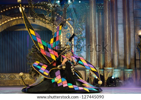 LAS PALMAS - FEBRUARY 3: Manuela Hernandez Curquejo from Canary Islands, performing onstage during Gala of the Great Lady contest February 3, 2013 in Las Palmas, Spain. - stock photo