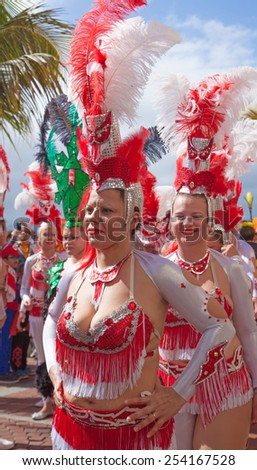 LAS PALMAS - February 17: Samba drummer and dancer groups assemble for the Las Canteras beach carnival  parade, February 17, 2015 in Las Palmas, Gran Canaria, Spain