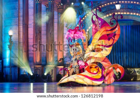 LAS PALMAS, SPAIN - FEBRUARY 1: Queen Paula Miranda from Canary Islands performs onstage during the carnival Queens Gala on February 1, 2013 in Las Palmas, Spain. - stock photo
