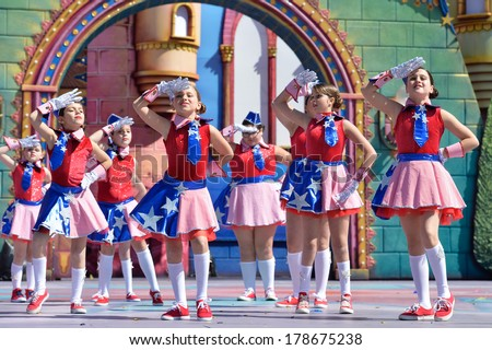 LAS PALMAS, SPAIN - FEBRUARY 23,2014: Unidentified children from Agustin Hernandez Diaz de Moya from Canary Islands, onstage during Children's Costume performance - stock photo