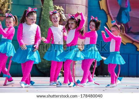 LAS PALMAS, SPAIN - FEBRUARY 23: Unidentified children from Chara's Girls Infantil from Canary Islands, onstage during Children's Costume performance, on February 23, 2014 in Las Palmas, Spain - stock photo