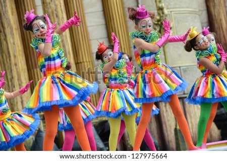 LAS PALMAS, SPAIN - FEBRUARY 10: Unidentified children from Colegio Las Meas, from Canary Islands, onstage during Children's Costume and Murgas, on February 10, 2013 in Las Palmas, Spain - stock photo