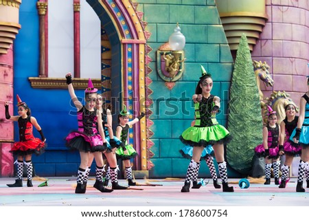 LAS PALMAS, SPAIN - FEBRUARY 23: Unidentified children from Colegio Las Mesas from Canary Islands, onstage during Children's Costume performance, on February 23, 2014 in Las Palmas, Spain - stock photo