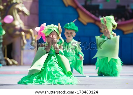 LAS PALMAS, SPAIN - FEBRUARY 23: Unidentified children from  Danza Las Palmas from Canary Islands, onstage during Children's Costume performance, on February 23, 2014 in Las Palmas, Spain - stock photo