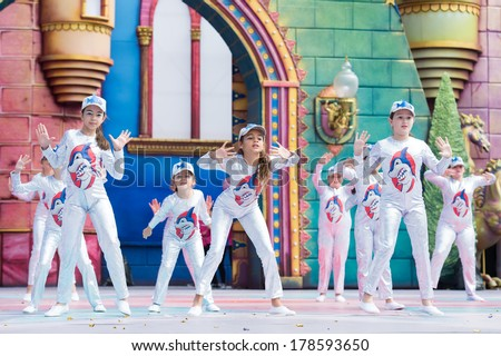 LAS PALMAS, SPAIN - FEBRUARY 23: Unidentified children from Grupo Attenery from Canary Islands, onstage during Children's Costume performance, on February 23, 2014 in Las Palmas, Spain - stock photo