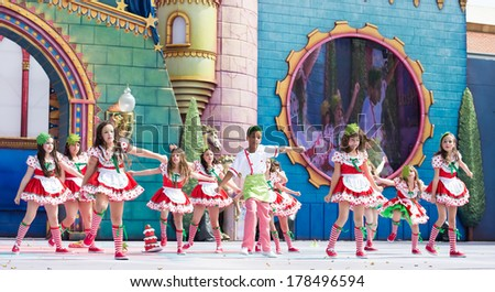 LAS PALMAS, SPAIN - FEBRUARY 23: Unidentified children from La Escuelita de Jeanette from Canary Islands, onstage during Children's Costume performance, on February 23, 2014 in Las Palmas, Spain - stock photo