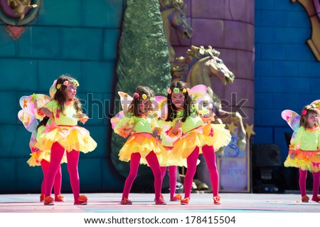LAS PALMAS, SPAIN - FEBRUARY 23: Unidentified children from Las Mesas School from Canary Islands, onstage during Children's Costume performance, on February 23, 2014 in Las Palmas, Spain - stock photo