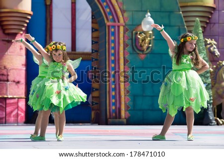 LAS PALMAS, SPAIN - FEBRUARY 23: Unidentified children from  Las Pequenas de Yamiley from Canary Islands, onstage during Children's Costume performance, on February 23, 2014 in Las Palmas, Spain - stock photo