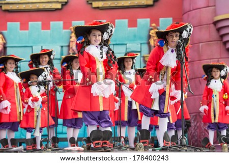 LAS PALMAS, SPAIN - FEBRUARY 23: Unidentified children in Murga Los Leganositos from Canary Islands, onstage during Children's Murgas performance, on February 23, 2014 in Las Palmas, Spain