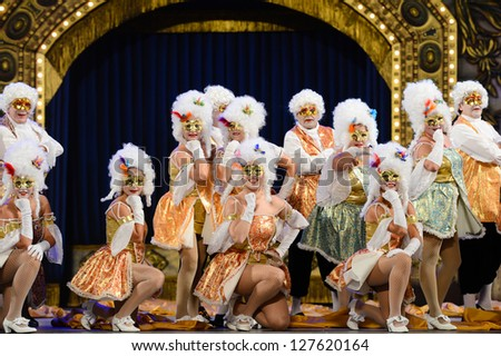LAS PALMAS , SPAIN - FEBRUARY 7: Unidentified dancers from Amanecer Rociero, from Canary Islands, perform during the Adult Costume Competition, for groups, on February 7, 2013 in Las Palmas, Spain