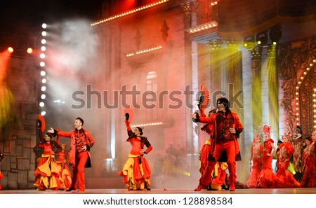 LAS PALMAS, SPAIN - FEBRUARY 15: Unidentified dancers from Ballet Espa���±a (BNE), from Madrid, performing onstage during the Carnival's Drag Queen Gala on February 15, 2013 in Las Palmas, Spain - stock photo
