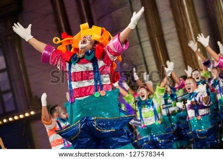 LAS PALMAS , SPAIN - FEBRUARY 5: Unidentified members from Los Chacho Tu, from Canary Islands, performing during the Murgas Contest on February 5, 2013 in Las Palmas, Spain - stock photo