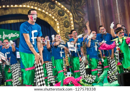 LAS PALMAS , SPAIN - FEBRUARY 5: Unidentified members from Los Melindrosos, from Canary Islands, performing during the Murgas Contest on February 5, 2013 in Las Palmas, Spain - stock photo
