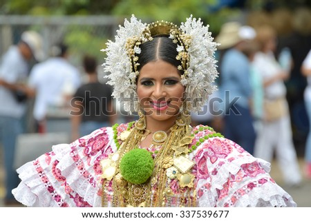 LAS TABLAS, PANAMA, NOV 8th 2015: Young lady wearing the traditional costume and ornaments of Panama, La Pollera, during the celebration of separation from Colombia Parade.