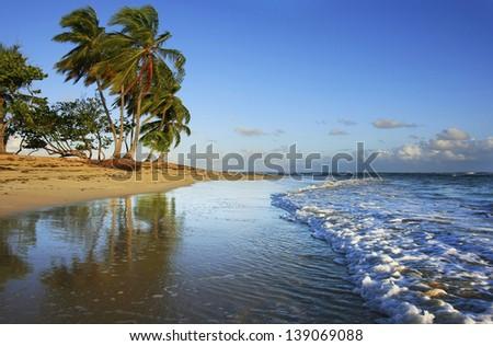 Las Terrenas beach, Samana peninsula, Dominican Republic - stock photo