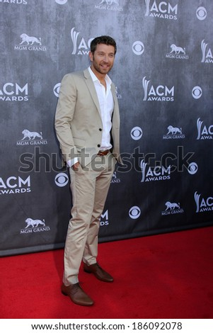 LAS VEGAS - APR 6:  Brett Eldredge at the 2014 Academy of Country Music Awards - Arrivals at MGM Grand Garden Arena on April 6, 2014 in Las Vegas, NV
