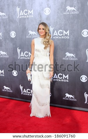 LAS VEGAS - APR 6:  Carrie Underwood at the 2014 Academy of Country Music Awards - Arrivals at MGM Grand Garden Arena on April 6, 2014 in Las Vegas, NV - stock photo