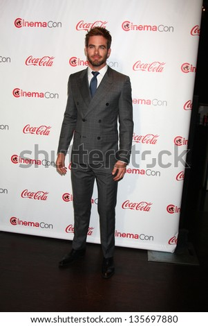 LAS VEGAS - APR 18:  Chris Pine in the CinemaCon Big Scrren Achievement Awards  press room at the Caesars Palace on April 18, 2013 in Las Vegas, NV