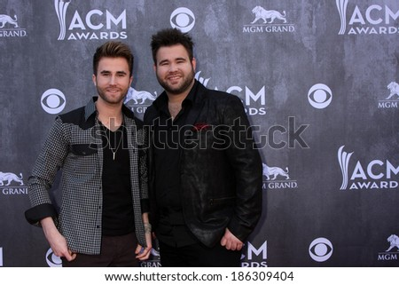 LAS VEGAS - APR 6:  Colton Swon, Zach Swon, The Swon Brothers at the 2014 Academy of Country Music Awards - Arrivals at MGM Grand Garden Arena on April 6, 2014 in Las Vegas, NV - stock photo