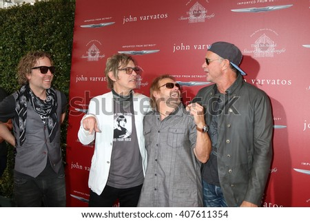 LAS VEGAS - APR 17:  Daxx Nielsen, Tom Petersson, Michael Anthony, Chad Smith at the John Varvatos 13th Annual Stuart House Benefit at the John Varvatos Store on April 17, 2016 in West Hollywood, CA - stock photo