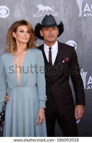 LAS VEGAS - APR 6:  Faith Hill, Tim McGraw at the 2014 Academy of Country Music Awards - Arrivals at MGM Grand Garden Arena on April 6, 2014 in Las Vegas, NV - stock photo