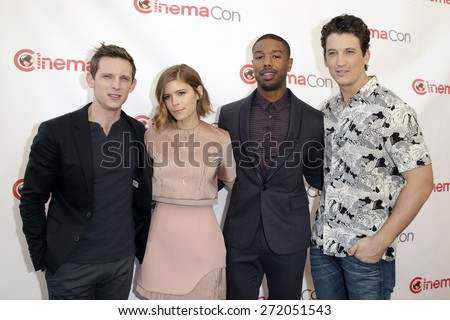 LAS VEGAS - APR 23: Jamie Bell, Kate Mara, Michael B. Jordan, Miles Teller at the Twentieth Century Fox 2015 Presentation at Cinemacon at Caesars Palace on April 23, 2015 in Las Vegas, NV