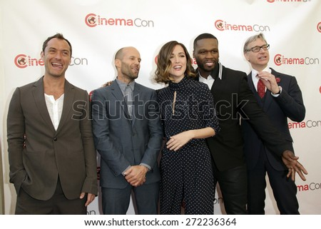 LAS VEGAS - APR 23: Jude Law, Jason Statham, Rose Byrne, Curtis '50 Cent' Jackson, Paul Feig at the Twentieth Century Fox 2015 at Cinemacon at Caesars Palace on April 23, 2015 in Las Vegas, NV - stock photo