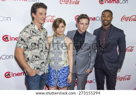 LAS VEGAS - APR 23 - (L-R) Actors Miles Teller, Kate Mara, Jamie Bell and Michael B Jordan, attends the 2015 Big Screen Achievement Awards on April 23 , 2015 in Las Vegas, NV