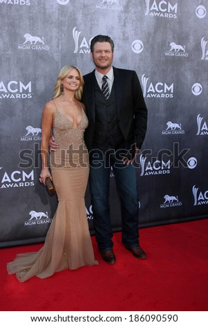 LAS VEGAS - APR 6:  Miranda Lambert, Blake Sheldon at the 2014 Academy of Country Music Awards - Arrivals at MGM Grand Garden Arena on April 6, 2014 in Las Vegas, NV - stock photo