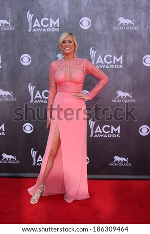 LAS VEGAS - APR 6:  Sarah Davidson at the 2014 Academy of Country Music Awards - Arrivals at MGM Grand Garden Arena on April 6, 2014 in Las Vegas, NV - stock photo