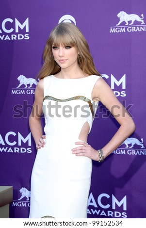 LAS VEGAS - APR 1:  Taylor Swift arrives at the 2012 Academy of Country Music Awards at MGM Grand Garden Arena on April 1, 2012 in Las Vegas, NV. - stock photo