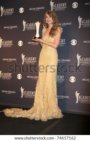 LAS VEGAS - APR 3:  Taylor Swift in the Press Room at the Academy of Country Music Awards 2011 at MGM Grand Garden Arena on April 3, 2010 in Las Vegas, NV. - stock photo
