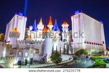 LAS VEGAS - APR 28 : The Excalibur Hotel and Casino in Las Vegas on April 28 2015 , The Hotel was named after King Arthur's sword and opened in 1990 - stock photo