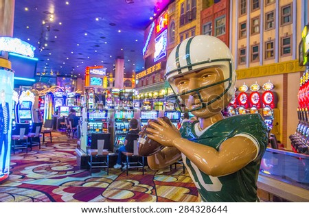 LAS VEGAS - APR 28 : The interior of New York-New York Hotel & Casino in Las Vegas on April 28 , 2015. This hotel simulates the real New York City street and It was opened in 1997. - stock photo