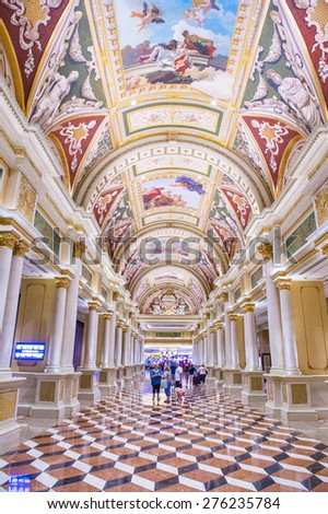 LAS VEGAS - APR 23 : The interior of the Venetian hotel & Casino in Las Vegas on April 23, 2015. With more than 4000 suites it's one of the most famous hotels in the world.