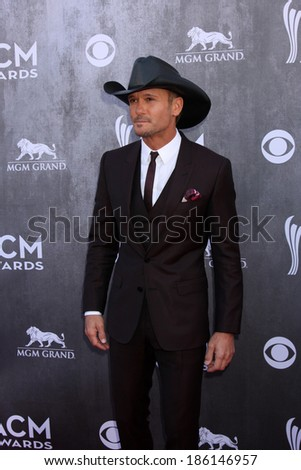 LAS VEGAS - APR 6:  Tim McGraw at the 2014 Academy of Country Music Awards - Arrivals at MGM Grand Garden Arena on April 6, 2014 in Las Vegas, NV