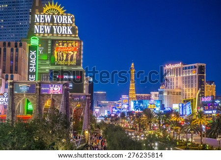 LAS VEGAS - APR 28 : View of the strip on April 28 2015 in Las Vegas. The Las Vegas Strip is an approximately 4.2-mile (6.8 km) stretch of Las Vegas Boulevard in Clark County, Nevada. - stock photo