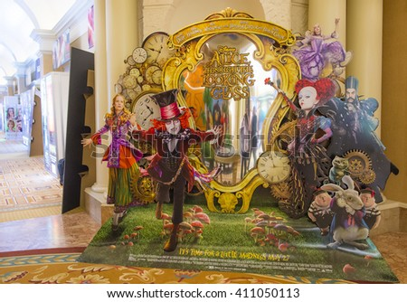 LAS VEGAS - April 13 : A display for the movie 'alice through the looking glass' during CinemaCon, the official convention of the National Association of Theatre Owners, on April 13, 2016 in Las Vegas