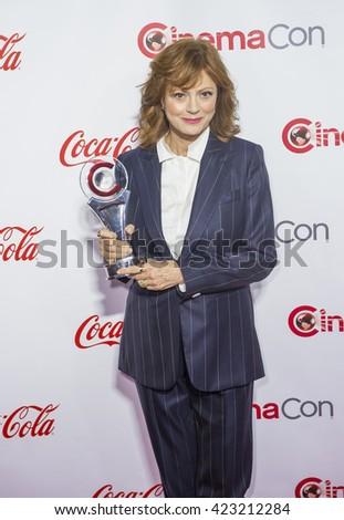 LAS VEGAS - APRIL 14 : Actress Susan Sarandon, recipient of the Cinema Icon Award, attends the CinemaCon Big Screen Achievement Awards at The Caesars Palace on April 14 2016 in Las Vegas - stock photo