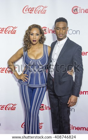 LAS VEGAS - APRIL 14 : Actress Vivica A. Fox (L) and actor Jessie Usher attends the CinemaCon Big Screen Achievement Awards at The Caesars Palace on April 14 2016 in Las Vegas - stock photo