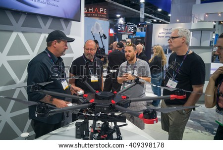 LAS VEGAS - April 18, 2016: DJI Introduces Next-Generation Matrice 600 Aerial Platform at DJI booth at NAB 2016 in Las Vegas Convention Center. - stock photo
