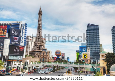 LAS VEGAS - APRIL 19: Las Vegas boulevard in the morning on April 19, 2014 in Las Vegas, Nevada. It's the most populous city in the state of Nevada and the county seat of Clark County. - stock photo
