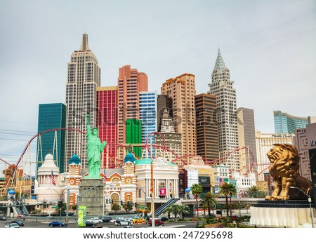 LAS VEGAS - APRIL 18: Las Vegas boulevard in the morning on April 18, 2014 in Las Vegas, Nevada. It's the most populous city in the state of Nevada and the county seat of Clark County. - stock photo