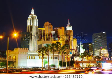 LAS VEGAS - APRIL 19: Las Vegas boulevard in the night on April 19, 2014 in Las Vegas, Nevada. It's the most populous city in the state of Nevada and the county seat of Clark County. - stock photo