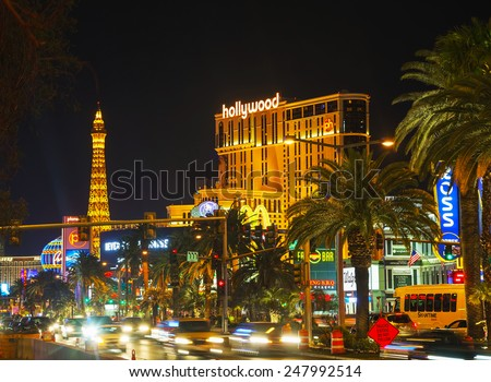 LAS VEGAS - APRIL 18: Las Vegas boulevard in the night on April 18, 2014 in Las Vegas, Nevada. It's the most populous city in the state of Nevada and the county seat of Clark County. - stock photo