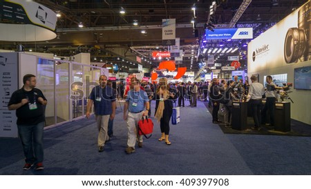 LAS VEGAS - April 18, 2016: NAB 2016, an annual trade show by the National Association of Broadcasters.1700+ exhibitors on 2000000 sq feet space of Las Vegas Convention Center. - stock photo